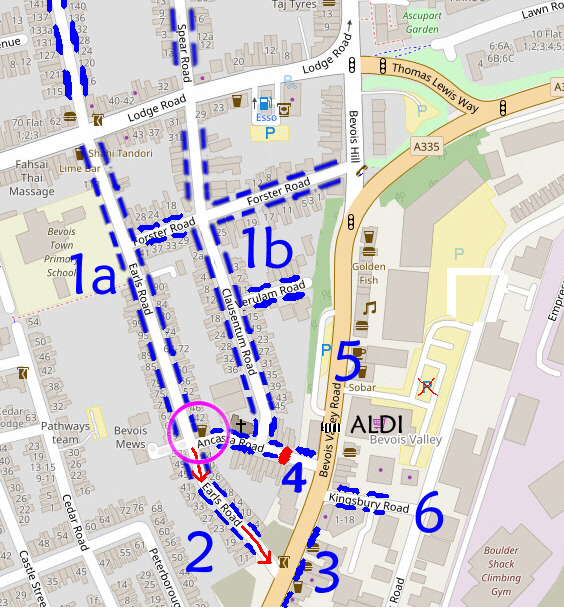 "Map of streets round ""The Guide Dog"", showing parking areas"